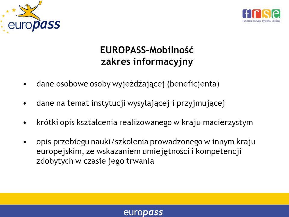 EUROPASS-Mobilność zakres informacyjny