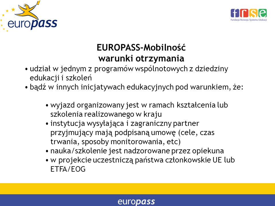 EUROPASS-Mobilność warunki otrzymania