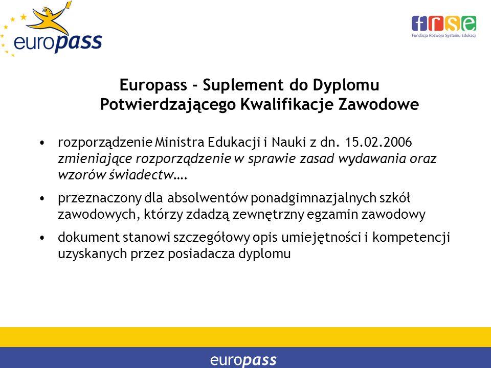 Europass - Suplement do Dyplomu Potwierdzającego Kwalifikacje Zawodowe
