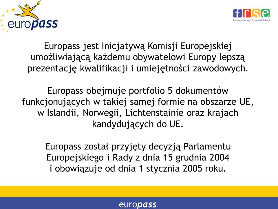 Europass jest Inicjatywą Komisji Europejskiej umożliwiającą każdemu obywatelowi Europy lepszą prezentację kwalifikacji i umiejętności zawodowych.