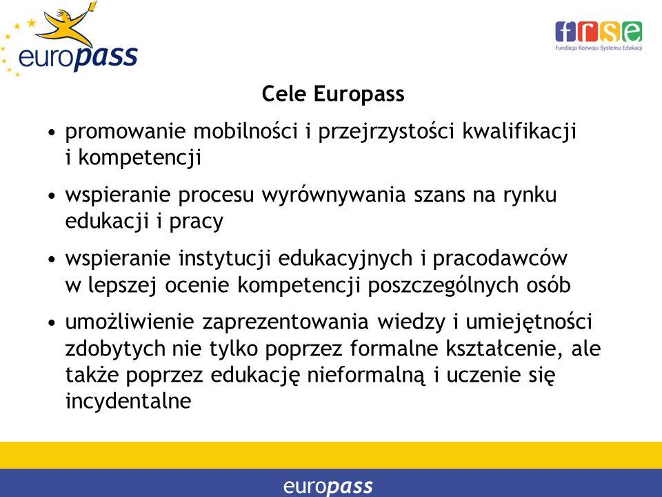 Cele Europass promowanie mobilności i przejrzystości kwalifikacji i kompetencji. wspieranie procesu wyrównywania szans na rynku edukacji i pracy.