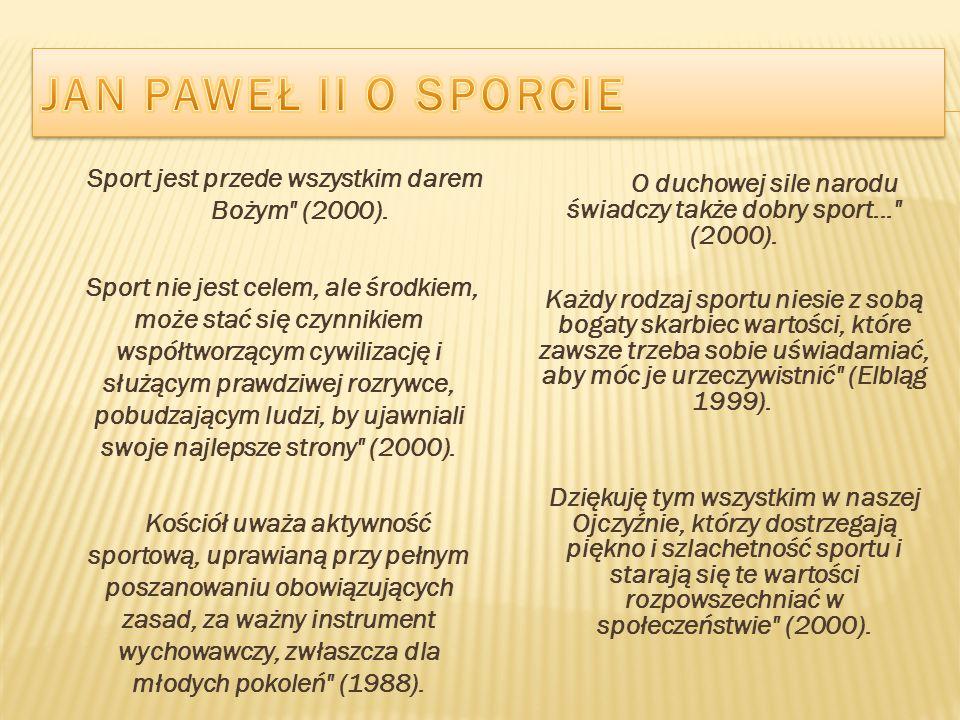JAN PAWEŁ II O SPORCIE Sport jest przede wszystkim darem Bożym (2000).