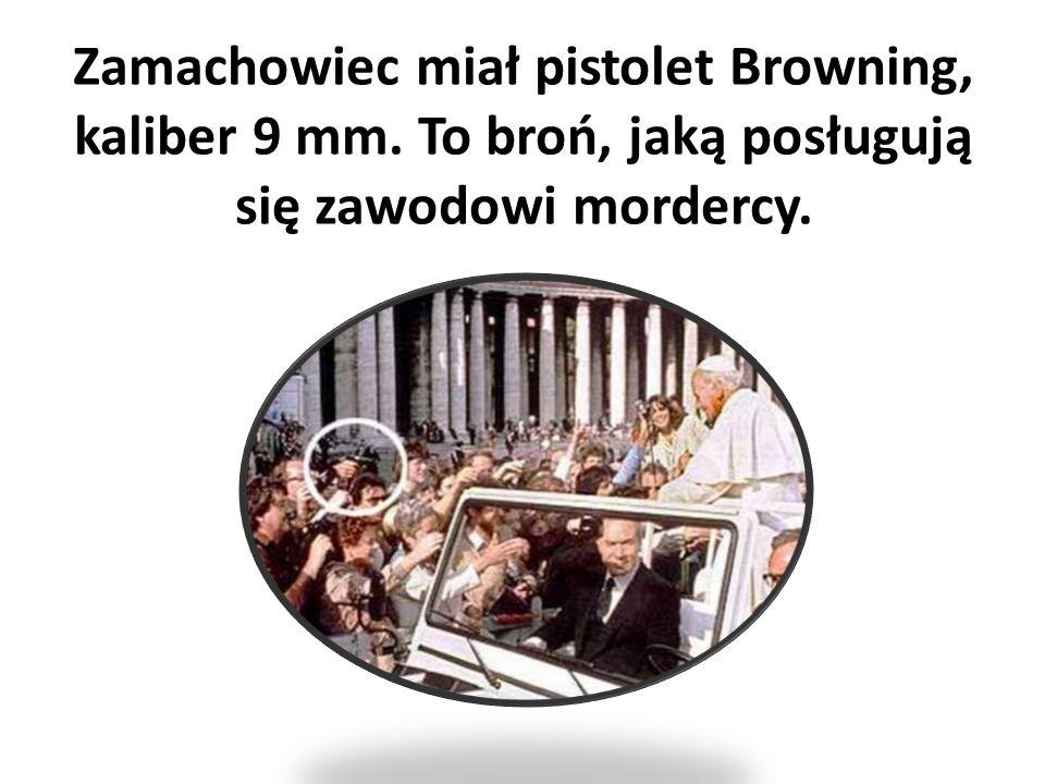 Zamachowiec miał pistolet Browning, kaliber 9 mm