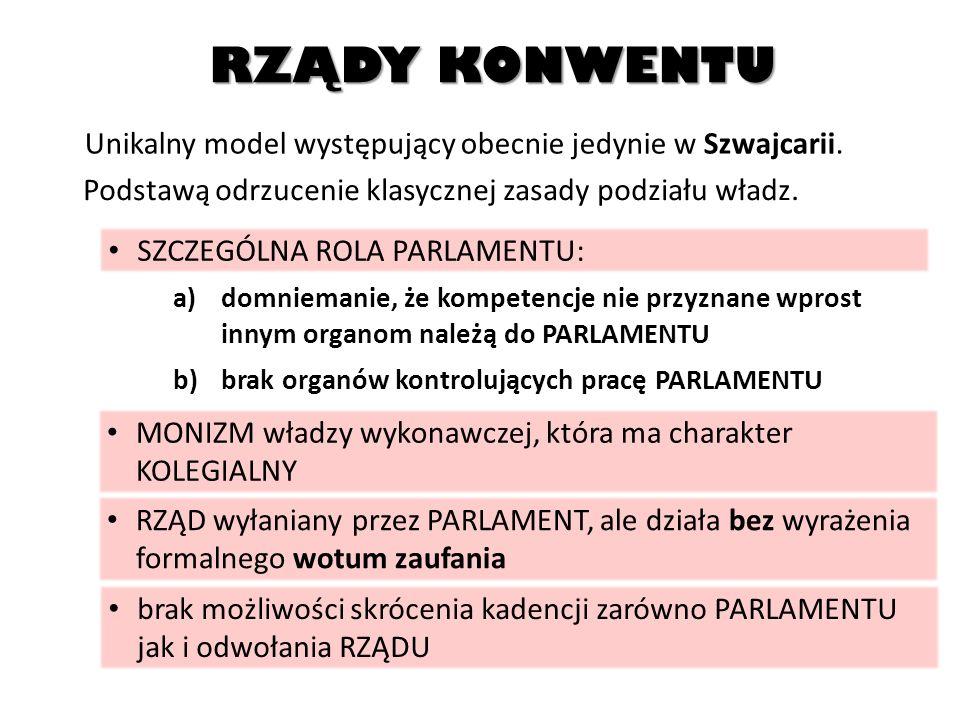 RZĄDY KONWENTU Unikalny model występujący obecnie jedynie w Szwajcarii. Podstawą odrzucenie klasycznej zasady podziału władz.
