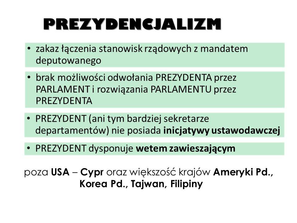 PREZYDENCJALIZM zakaz łączenia stanowisk rządowych z mandatem deputowanego.