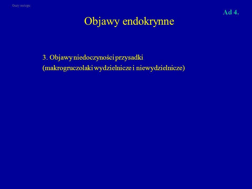 Objawy endokrynne 3. Objawy niedoczyności przysadki Ad 4.