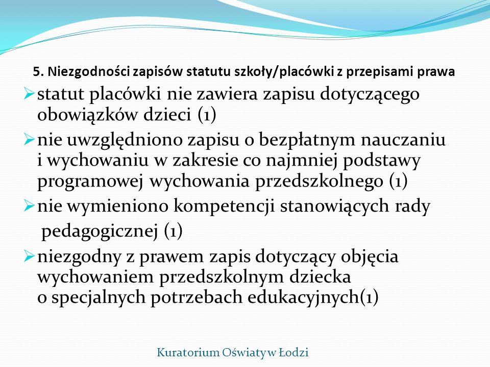 5. Niezgodności zapisów statutu szkoły/placówki z przepisami prawa