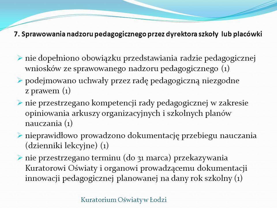 podejmowano uchwały przez radę pedagogiczną niezgodne z prawem (1)