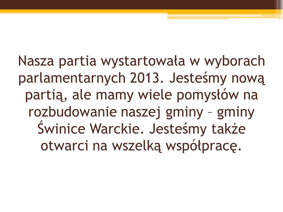Nasza partia wystartowała w wyborach parlamentarnych 2013