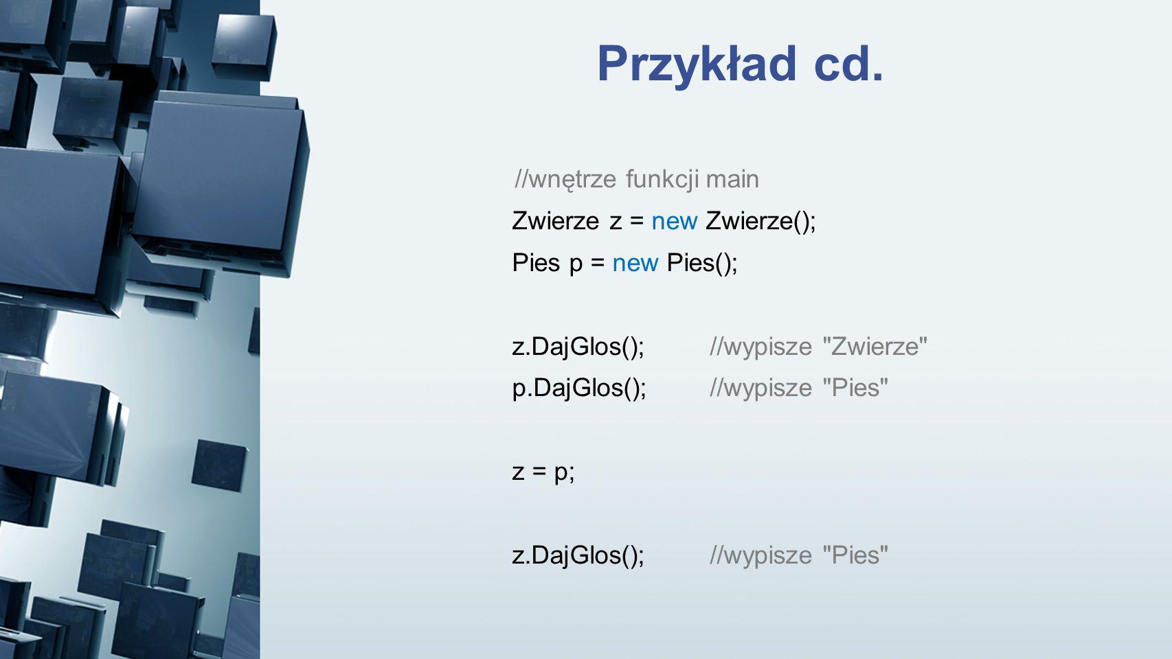 Przykład cd. //wnętrze funkcji main Zwierze z = new Zwierze();