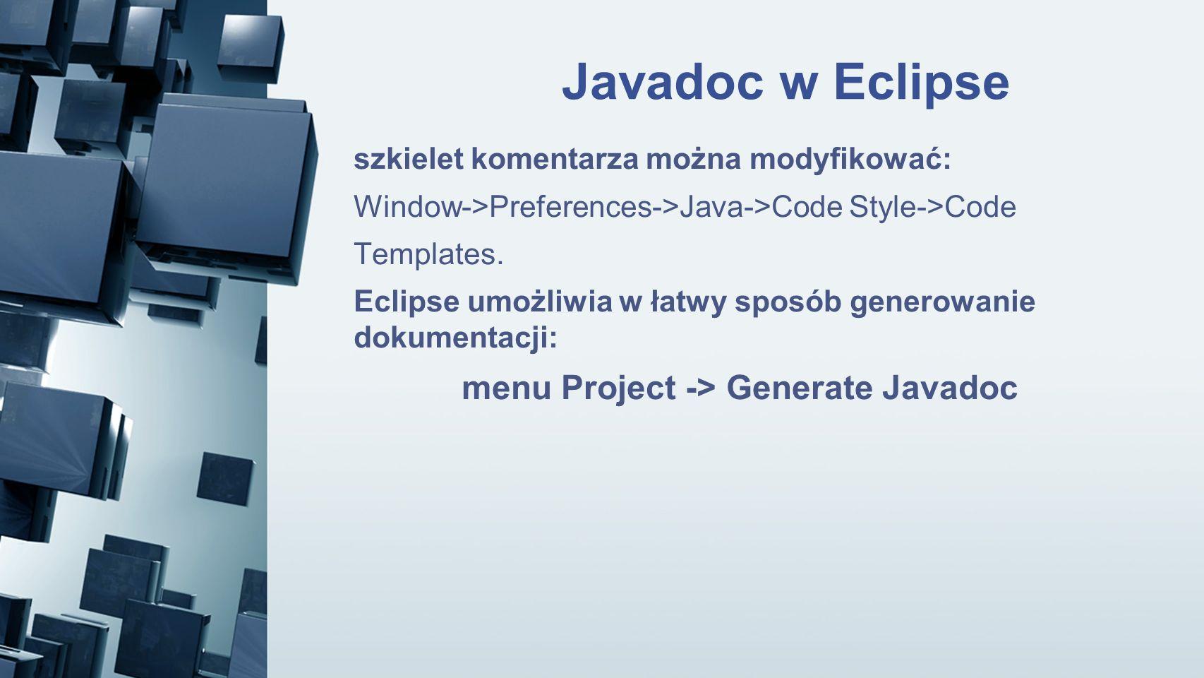 menu Project -> Generate Javadoc