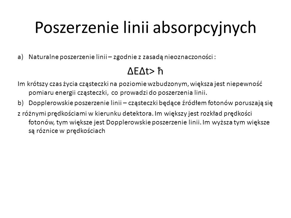 Poszerzenie linii absorpcyjnych