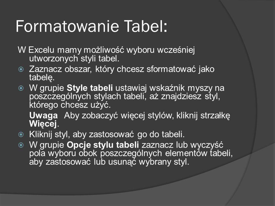 Formatowanie Tabel: W Excelu mamy możliwość wyboru wcześniej utworzonych styli tabel. Zaznacz obszar, który chcesz sformatować jako tabelę.