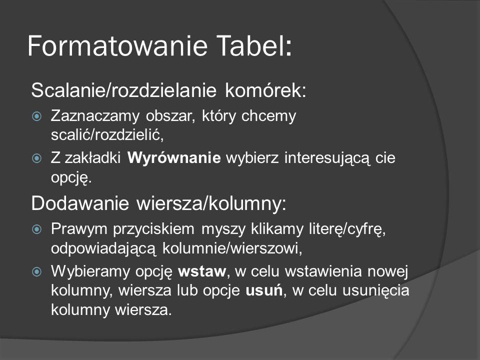 Formatowanie Tabel: Scalanie/rozdzielanie komórek: