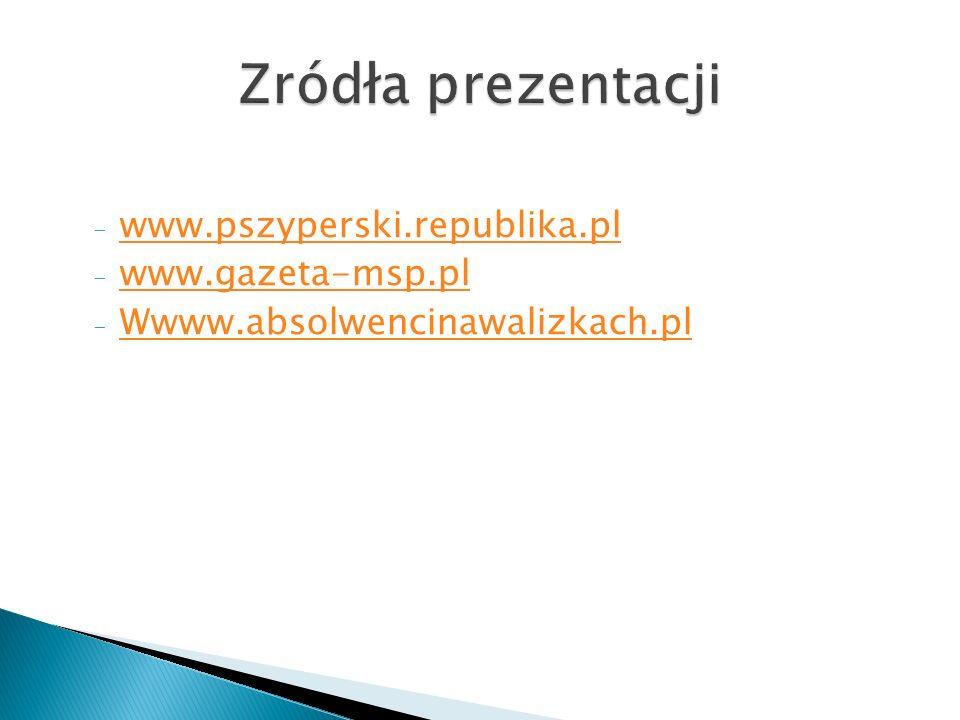 Zródła prezentacji www.pszyperski.republika.pl www.gazeta-msp.pl
