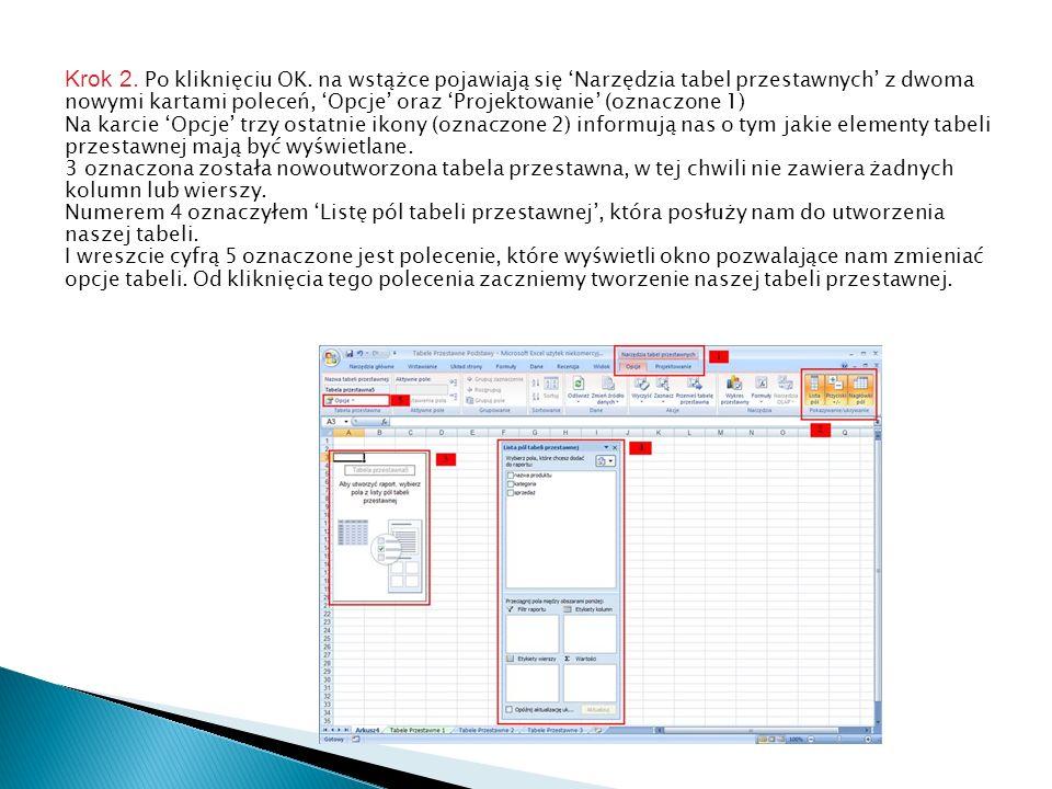 Krok 2. Po kliknięciu OK. na wstążce pojawiają się 'Narzędzia tabel przestawnych' z dwoma nowymi kartami poleceń, 'Opcje' oraz 'Projektowanie' (oznaczone 1)