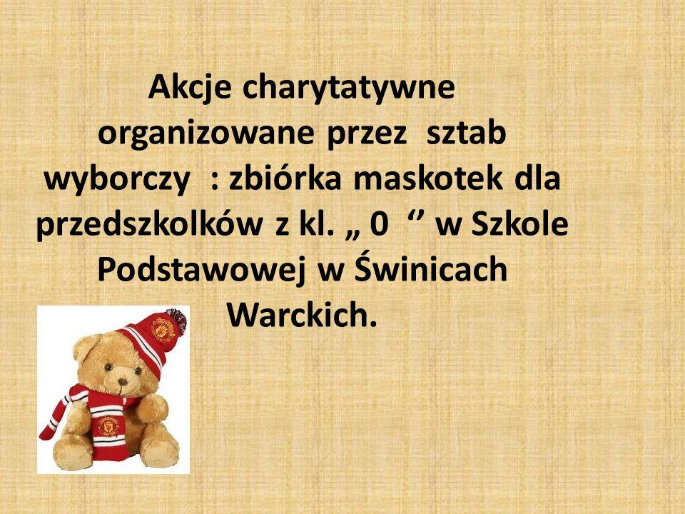 Akcje charytatywne organizowane przez sztab wyborczy : zbiórka maskotek dla przedszkolków z kl.