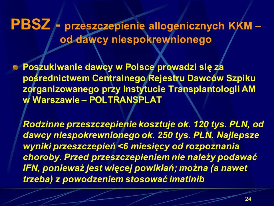 PBSZ - przeszczepienie allogenicznych KKM – od dawcy niespokrewnionego