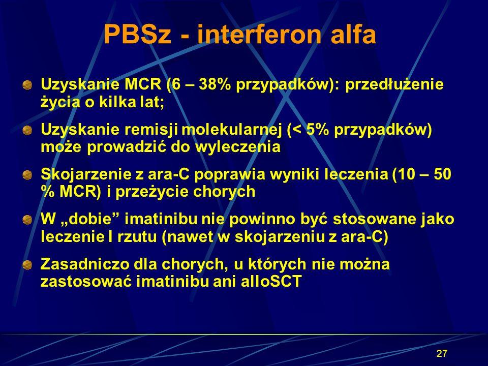 PBSz - interferon alfa Uzyskanie MCR (6 – 38% przypadków): przedłużenie życia o kilka lat;