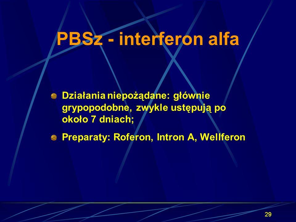 PBSz - interferon alfa Działania niepożądane: głównie grypopodobne, zwykle ustępują po około 7 dniach;