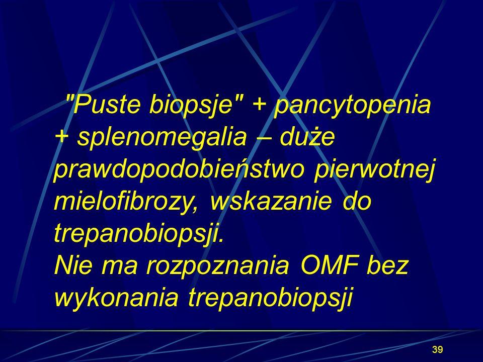 Puste biopsje + pancytopenia + splenomegalia – duże prawdopodobieństwo pierwotnej mielofibrozy, wskazanie do trepanobiopsji.