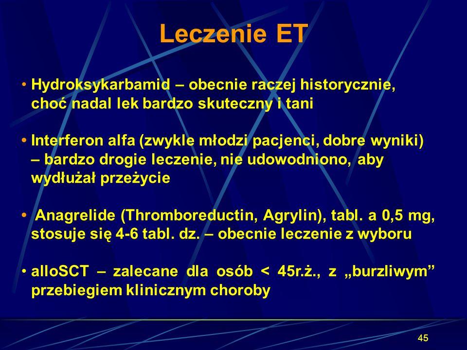 Leczenie ET • Hydroksykarbamid – obecnie raczej historycznie, choć nadal lek bardzo skuteczny i tani.