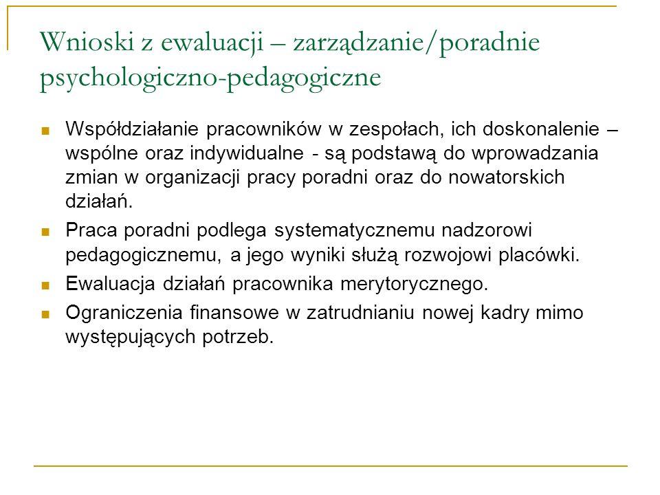 Wnioski z ewaluacji – zarządzanie/poradnie psychologiczno-pedagogiczne