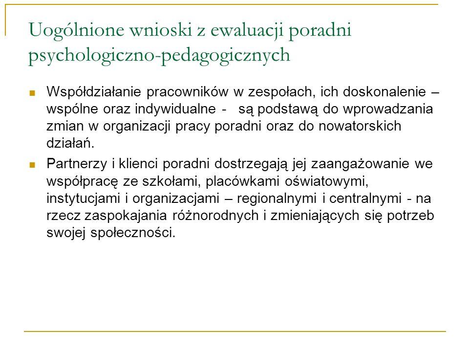 Uogólnione wnioski z ewaluacji poradni psychologiczno-pedagogicznych