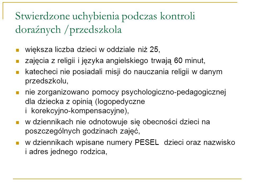 Stwierdzone uchybienia podczas kontroli doraźnych /przedszkola