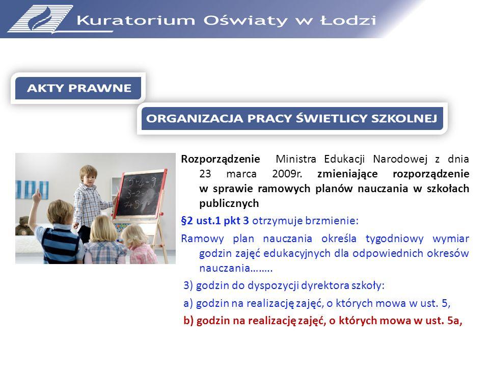 Rozporządzenie Ministra Edukacji Narodowej z dnia 23 marca 2009r
