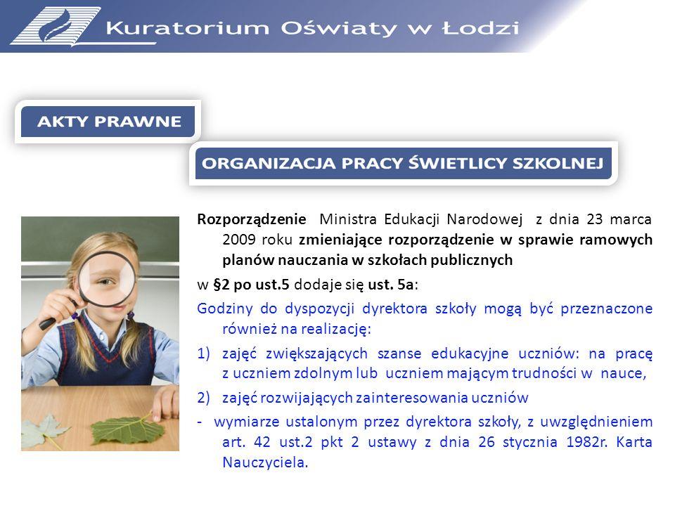 Rozporządzenie Ministra Edukacji Narodowej z dnia 23 marca 2009 roku zmieniające rozporządzenie w sprawie ramowych planów nauczania w szkołach publicznych