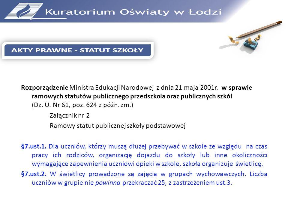 Rozporządzenie Ministra Edukacji Narodowej z dnia 21 maja 2001r