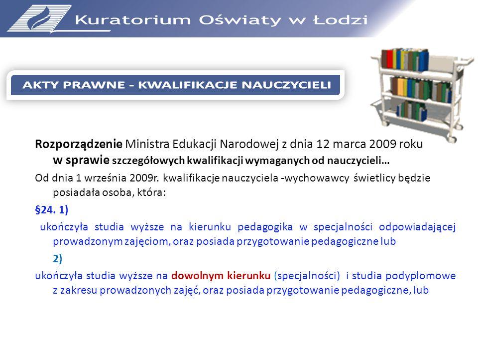 Rozporządzenie Ministra Edukacji Narodowej z dnia 12 marca 2009 roku w sprawie szczegółowych kwalifikacji wymaganych od nauczycieli…