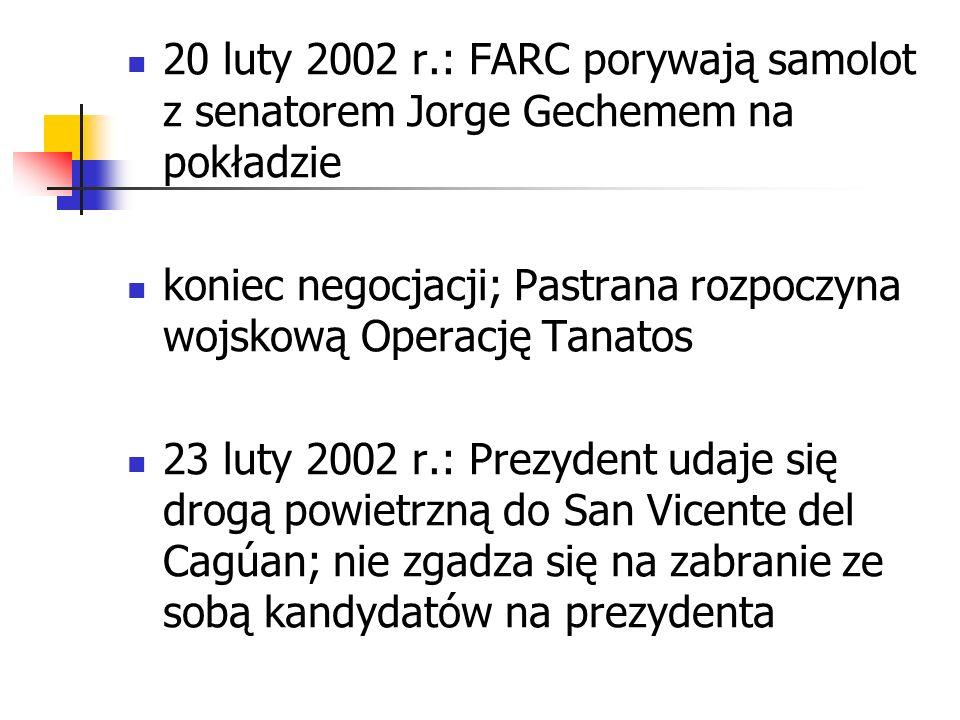 20 luty 2002 r.: FARC porywają samolot z senatorem Jorge Gechemem na pokładzie