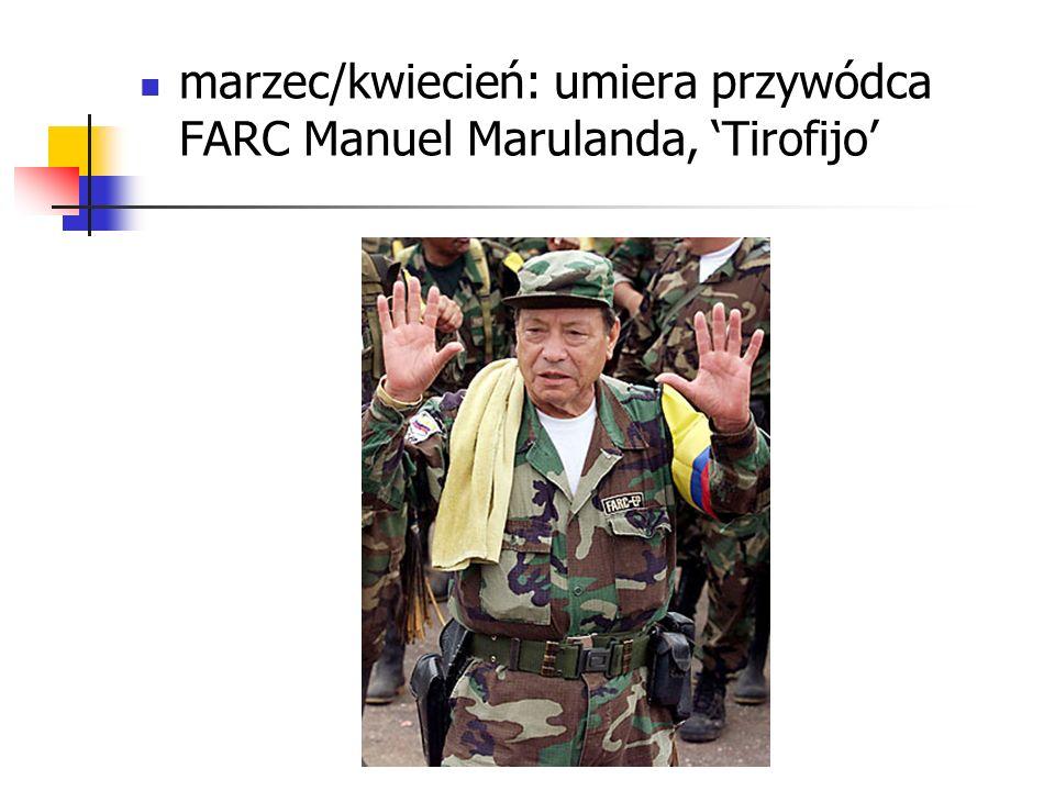 marzec/kwiecień: umiera przywódca FARC Manuel Marulanda, 'Tirofijo'