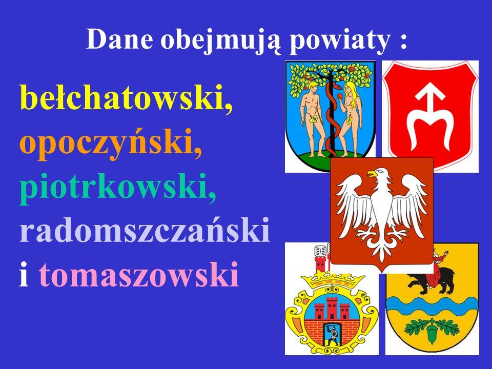 Dane obejmują powiaty :