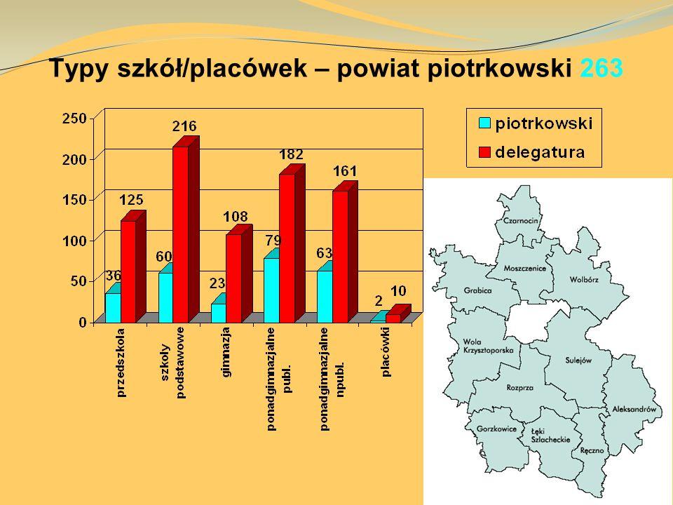 Typy szkół/placówek – powiat piotrkowski 263