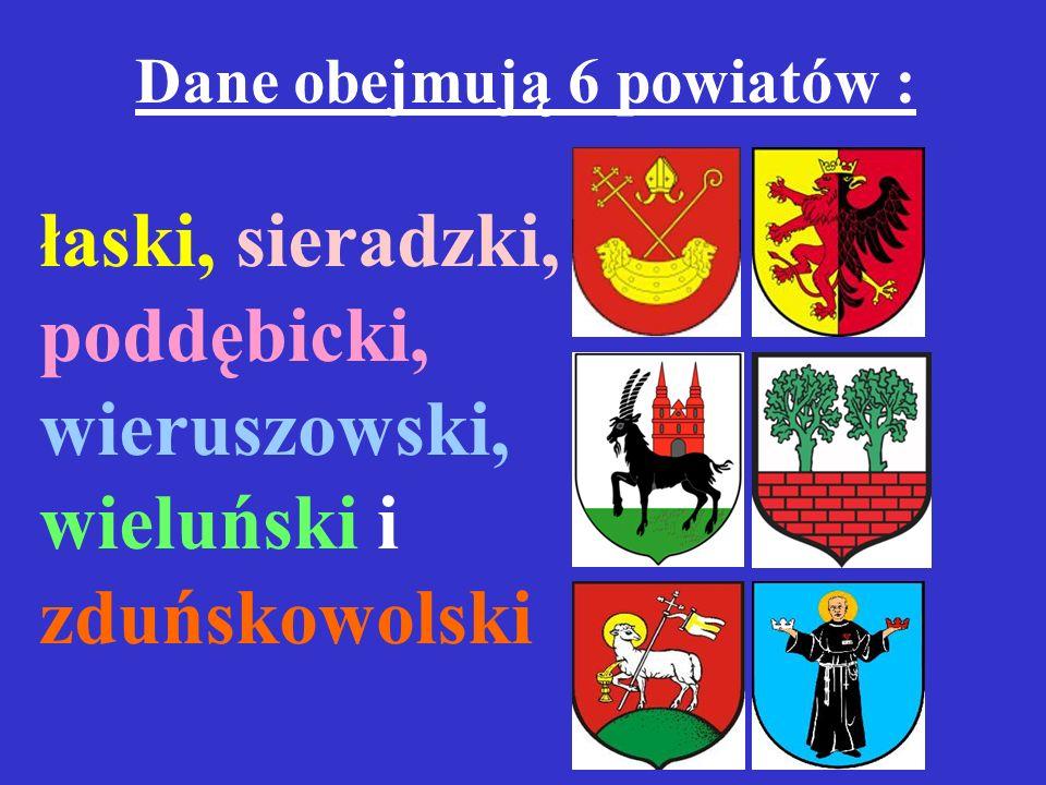 Dane obejmują 6 powiatów :