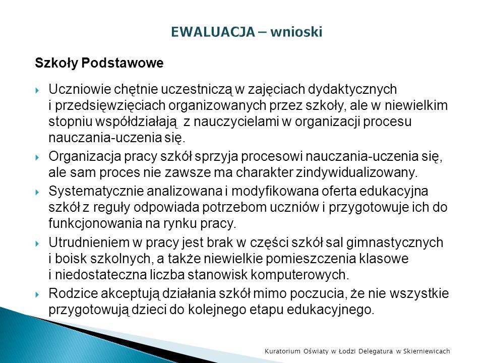 EWALUACJA – wnioski Szkoły Podstawowe