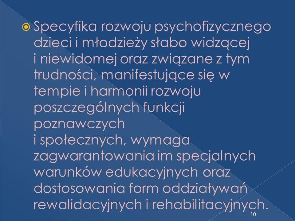 Specyfika rozwoju psychofizycznego dzieci i młodzieży słabo widzącej i niewidomej oraz związane z tym trudności, manifestujące się w tempie i harmonii rozwoju poszczególnych funkcji poznawczych i społecznych, wymaga zagwarantowania im specjalnych warunków edukacyjnych oraz dostosowania form oddziaływań rewalidacyjnych i rehabilitacyjnych.