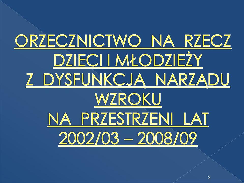 ORZECZNICTWO NA RZECZ DZIECI I MŁODZIEŻY Z DYSFUNKCJĄ NARZĄDU WZROKU NA PRZESTRZENI LAT 2002/03 – 2008/09