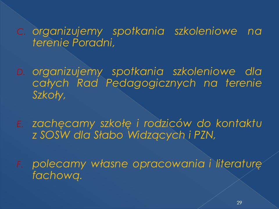 organizujemy spotkania szkoleniowe na terenie Poradni,
