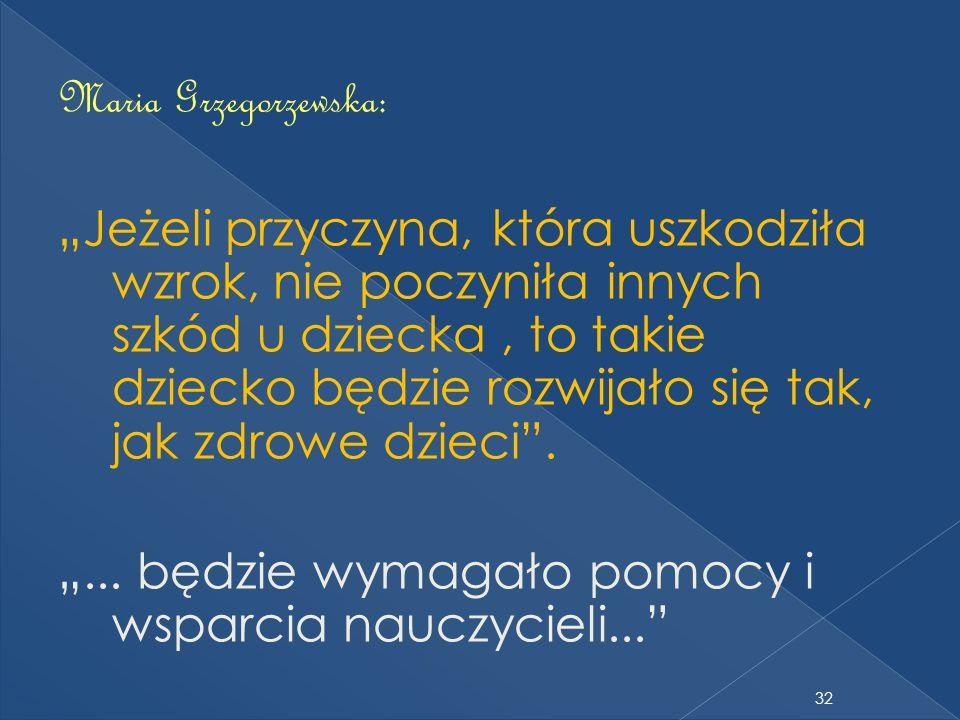 """Maria Grzegorzewska: """"Jeżeli przyczyna, która uszkodziła wzrok, nie poczyniła innych szkód u dziecka , to takie dziecko będzie rozwijało się tak, jak zdrowe dzieci ."""
