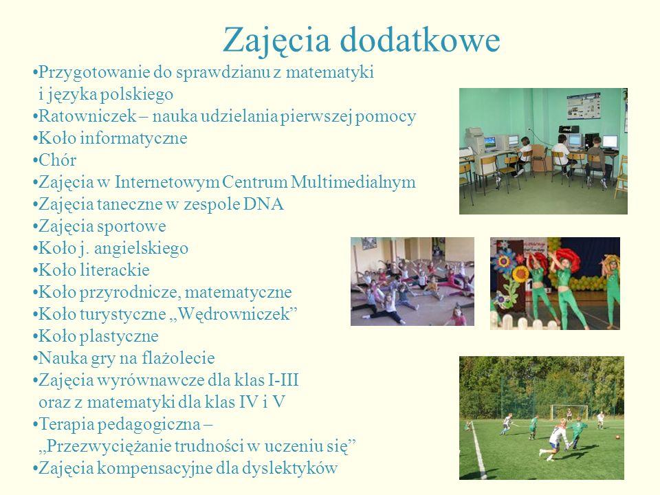 Zajęcia dodatkowe Przygotowanie do sprawdzianu z matematyki i języka polskiego. Ratowniczek – nauka udzielania pierwszej pomocy.
