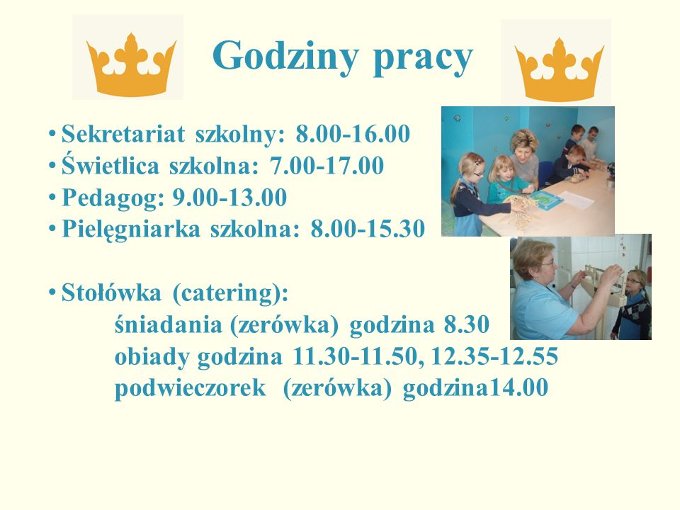 Godziny pracy Sekretariat szkolny: 8.00-16.00