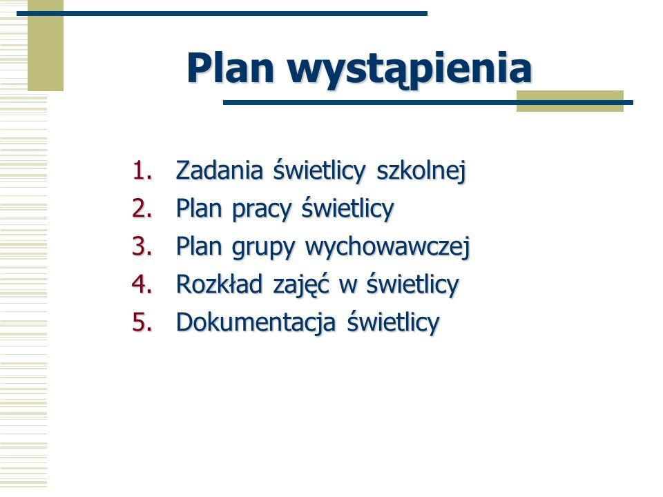 Plan wystąpienia Zadania świetlicy szkolnej Plan pracy świetlicy