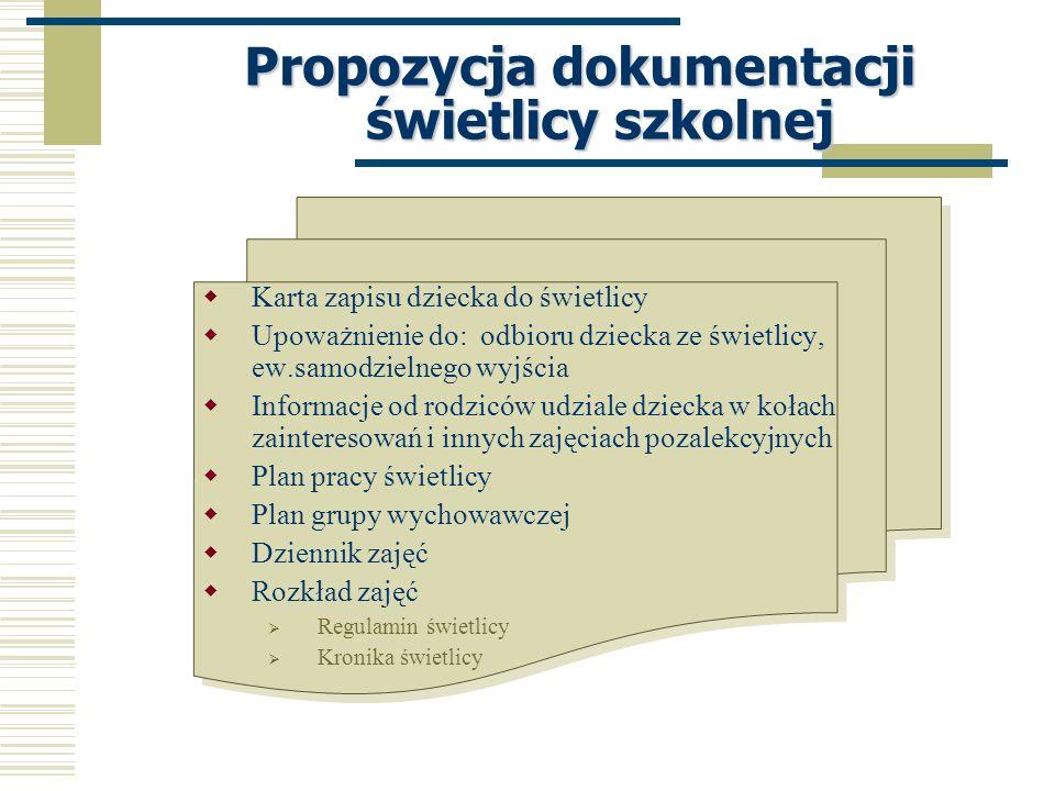 Propozycja dokumentacji świetlicy szkolnej