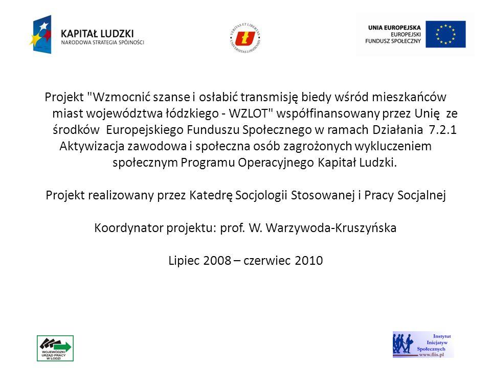 Koordynator projektu: prof. W. Warzywoda-Kruszyńska