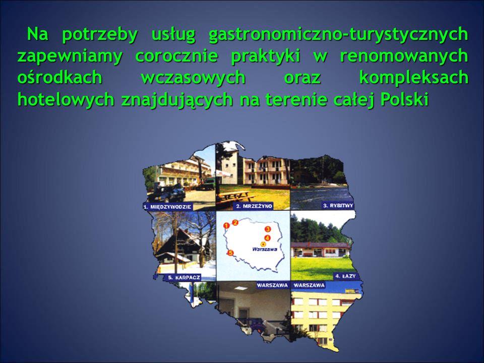 Na potrzeby usług gastronomiczno-turystycznych zapewniamy corocznie praktyki w renomowanych ośrodkach wczasowych oraz kompleksach hotelowych znajdujących na terenie całej Polski