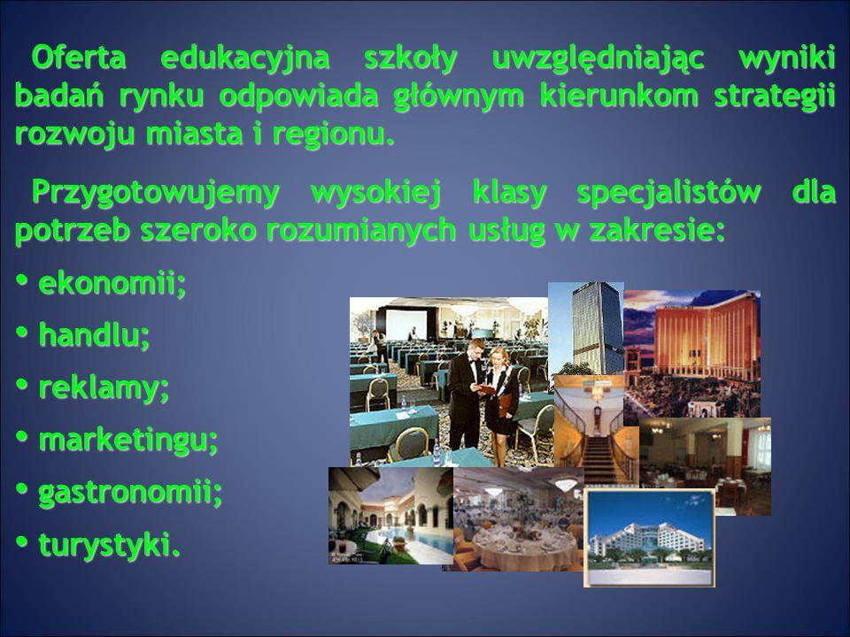 Oferta edukacyjna szkoły uwzględniając wyniki badań rynku odpowiada głównym kierunkom strategii rozwoju miasta i regionu.